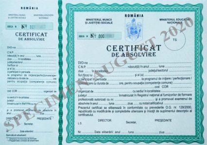 drys.ro - certificat de absolvire august 2020